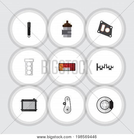 Flat Icon Component Set Of Cambelt, Steels Shafts, Heater And Other Vector Objects