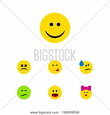 Flat Icon Gesture Set Of Frown, Tears, Wonder And Other Vector Objects