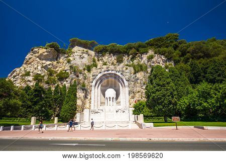 Monument Aux Morts In Old City Center Of Nice, French Riviera, France, Europe.