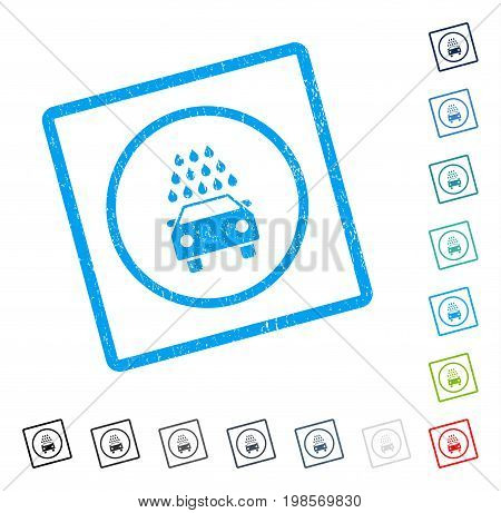 Car Wash rubber watermark in some color versions.. Vector icon symbol inside rounded rectangular frame with grunge design and dust texture. Stamp seal illustration, unclean sticker.