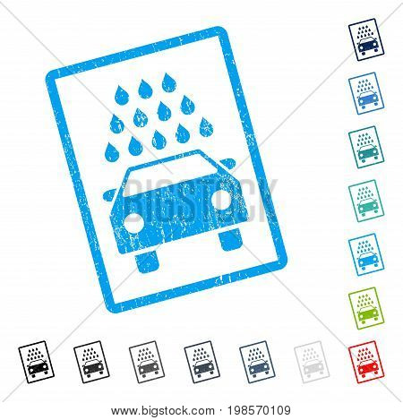 Car Wash rubber watermark in some color versions.. Vector pictogram symbol inside rounded rectangle with grunge design and dirty texture. Stamp seal illustration, unclean emblem.