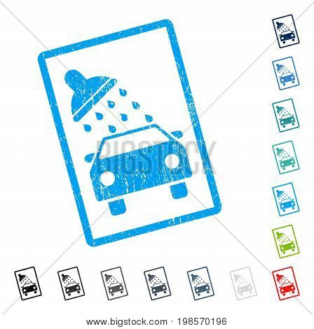Car Wash rubber watermark in some color versions.. Vector icon symbol inside rounded rectangle with grunge design and unclean texture. Stamp seal illustration, unclean sign.