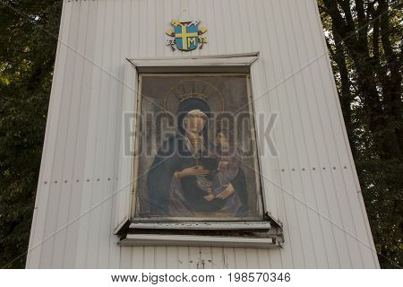 A fragment of an old field altar in Mount St. Anna in Poland where Pope John Paul II was in 1983