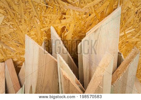 Construction of a modern warm ecological house. In the frame is a plate and boards. Horizontal frame. Ukraine. Kiev region