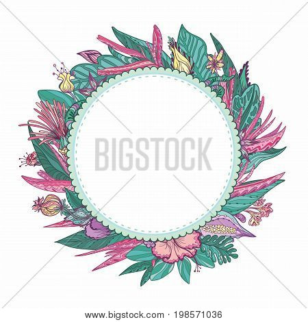 Circle exotic plants wreath isolated on white background for invitation and card design