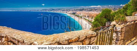 Beach Sandy Promenade In Old City Center Of Nice, French Riviera, France, Europe.
