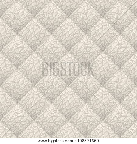 Beige leather upholstery vector seamless pattern. Quilted leather texture. Anymal skin texture. Can be used in web design and graphic design.
