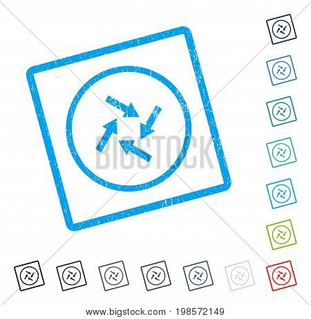 Centripetal Arrows rubber watermark in some color versions.. Vector icon symbol inside rounded rectangular frame with grunge design and dust texture. Stamp seal illustration, unclean sticker.
