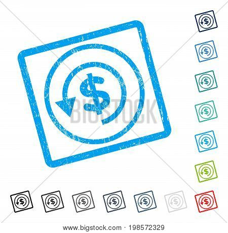 Chargeback rubber watermark in some color versions.. Vector pictogram symbol inside rounded rectangle with grunge design and unclean texture. Stamp seal illustration, unclean emblem.