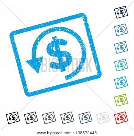 Chargeback rubber watermark in some color versions.. Vector pictogram symbol inside rounded rectangular frame with grunge design and dirty texture. Stamp seal illustration, unclean sign.