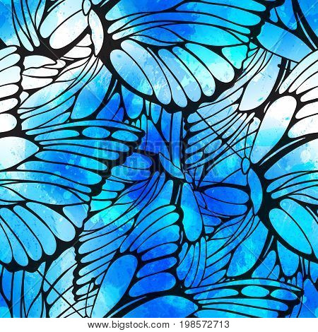 Vector seamless pattern of flying butterflies wiith vector watercolor texture. Abstract background with watercolour drops and strokes and butterfly wings