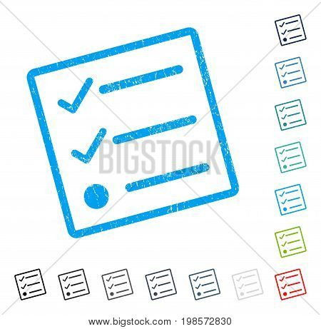 Checklist rubber watermark in some color versions.. Vector pictogram symbol inside rounded rectangle with grunge design and scratched texture. Stamp seal illustration, unclean sticker.