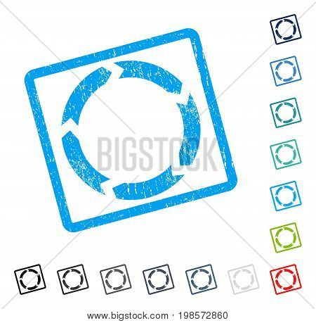 Circulation rubber watermark in some color versions.. Vector pictogram symbol inside rounded rectangle with grunge design and scratched texture. Stamp seal illustration, unclean sticker.