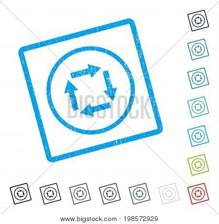 Circulation Arrows rubber watermark in some color versions.. Vector icon symbol inside rounded rectangular frame with grunge design and unclean texture. Stamp seal illustration, unclean sign.