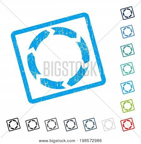 Circulation rubber watermark in some color versions.. Vector icon symbol inside rounded rectangle with grunge design and scratched texture. Stamp seal illustration, unclean emblem.