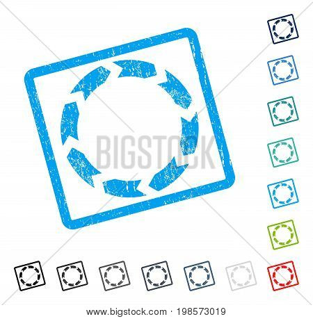 Circulation rubber watermark in some color versions.. Vector pictogram symbol inside rounded rectangular frame with grunge design and unclean texture. Stamp seal illustration, unclean sign.