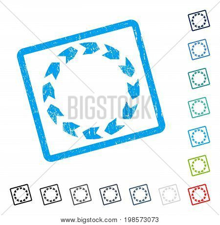 Circulation rubber watermark in some color versions.. Vector pictogram symbol inside rounded rectangle with grunge design and dirty texture. Stamp seal illustration, unclean emblem.