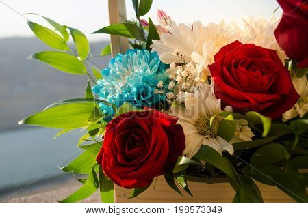 Bouquet Of Roses Close Up. Blurred Background. Selective Focus. Floral Pattern Or Greeting Card Back