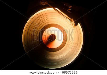 Concept Of Speed - Trail Of Fire And Smoke - Vinyl Record. Burning Vinyl Disk. Turntable Vinyl Recor