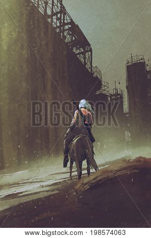 man with a gun riding horse walking in desert city with industrial buildings, digital art style, illustration painting