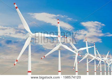 Wind farm set of wind turbines. 3D rendering