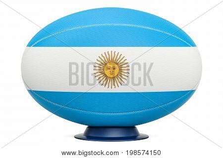 Rugby Ball with flag of Aregnintina 3D rendering isolated on white background