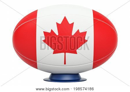 Rugby Ball with flag of Canada 3D rendering isolated on white background