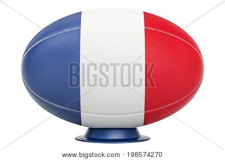 Rugby Ball with flag of France 3D rendering isolated on white background