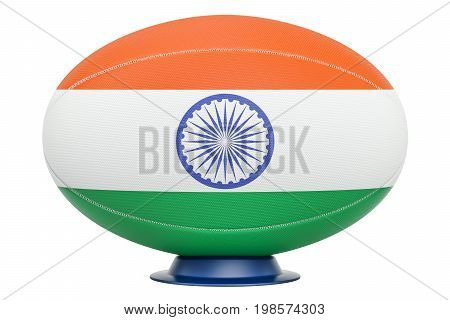 Rugby Ball with flag of India 3D rendering isolated on white background