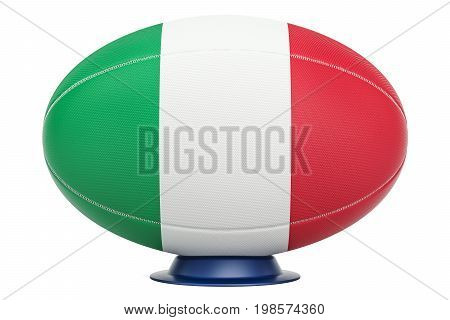 Rugby Ball with flag of Italy 3D rendering isolated on white background