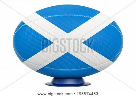 Rugby Ball with flag of Scotland 3D rendering isolated on white background
