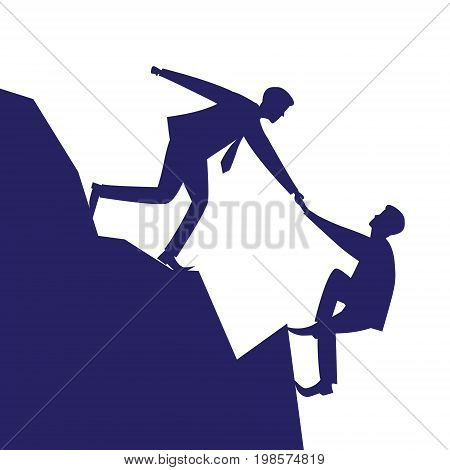 Vector silhouette illustration. Business teamwork concept. Businessmen working together helping each other to climb mountain cliff of success. Team of people work hard to reach top position