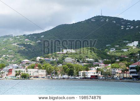 The downtown of Charlotte Amalie town on St. Thomas island (U.S. Virgin Islands).