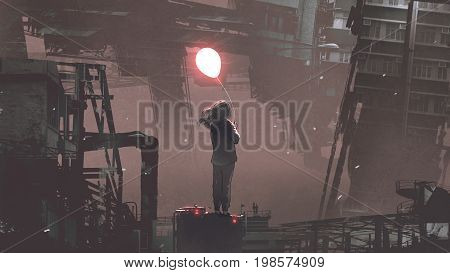 young woman holding glowing balloon standing on building in futuristic city at night, digital art style, illustration painting