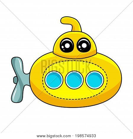 Funny vector submarine ship with cute eyes in flat style isolated on white background. Childish print
