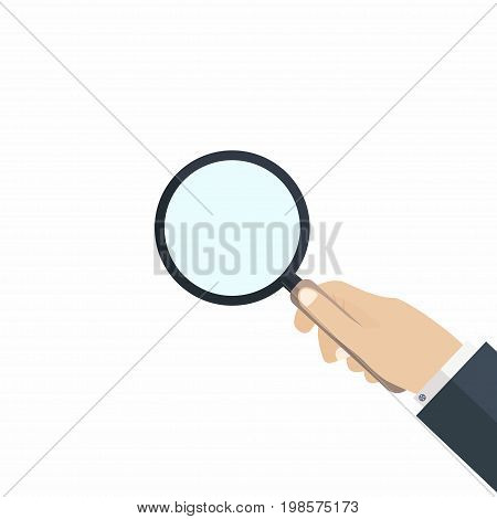 Hand with magnifying glass. Concept of searching audit and analysis exploration scrutiny. Vector