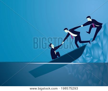Vector illustration. Business failure rescue recovery teamwork concept. Businessmen work together helping each other to save themselves from sinking boat