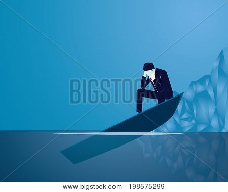 Vector illustration. Business failure concept. Businessman frustrated sad thinking of his loss while sitting on the edge of his sinking boat