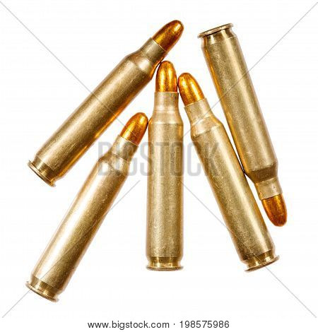 Rifle bullets on a white background. Macro photo.