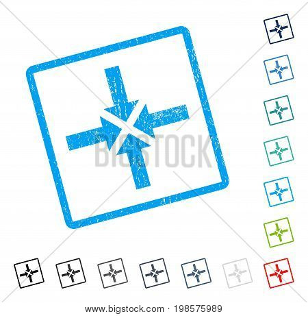 Compress Arrows rubber watermark in some color versions.. Vector pictogram symbol inside rounded rectangular frame with grunge design and scratched texture. Stamp seal illustration, unclean sign.