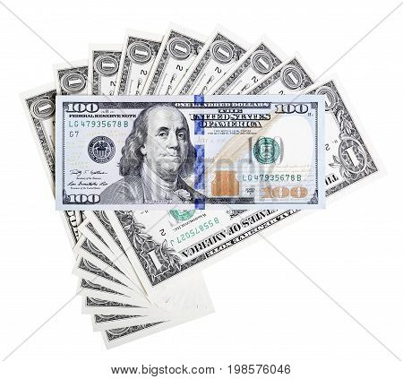 One dollar bills and hundred dollar new design banknote macro photo.