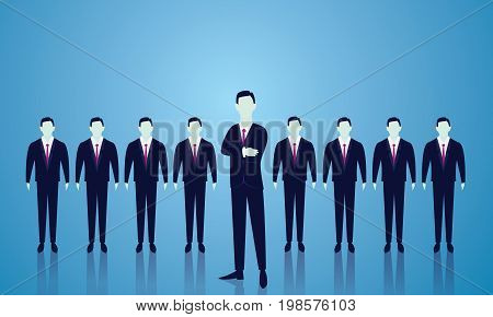 Vector illustration. Business team leader leadership teamwork concept. A leader stand out in the front of lined people. Team of businessmen ready to work.