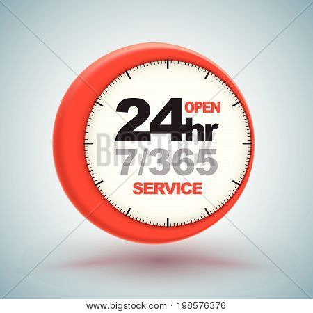 24Hr Services With Clock