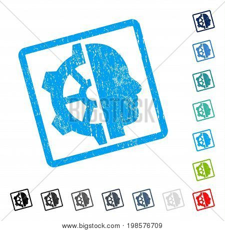 Cyborg Gear rubber watermark in some color versions.. Vector icon symbol inside rounded rectangular frame with grunge design and scratched texture. Stamp seal illustration, unclean sign.