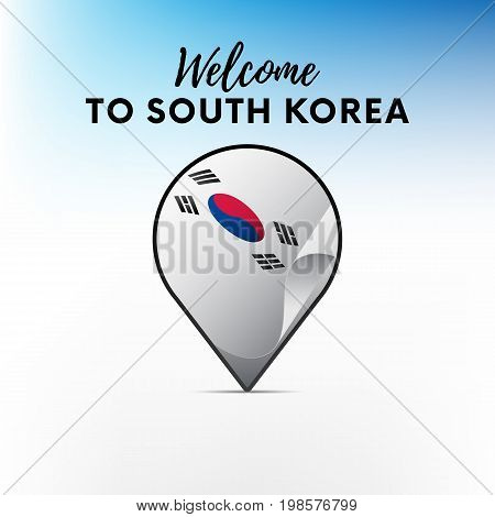 Flag of South Korea in shape of map pointer or marker. Welcome to South Korea. Vector illustration.