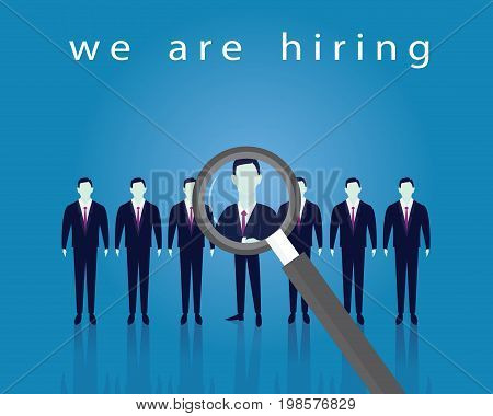 Vector illustration. Business recruitment hiring concept. Selecting businessman from line of people. Focus on one man with magnifying glass