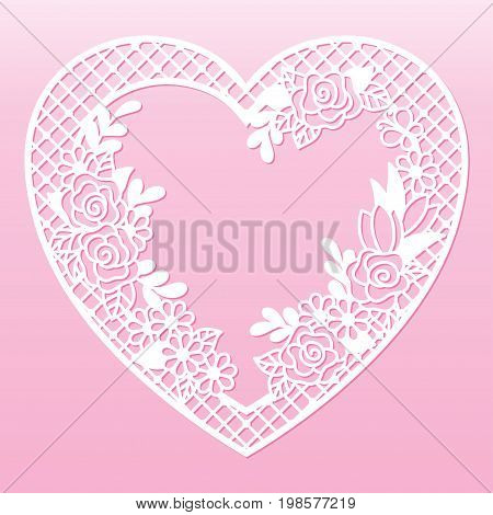 Openwork floral frame in the shape of a heart. Laser cutting template for decoration cards interior decorative elements.