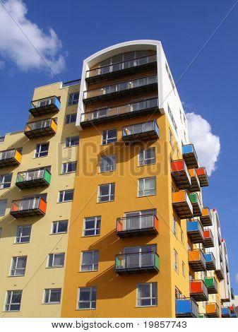 Mutli coloured building design.