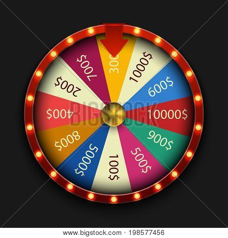 Vector modern fortune wheel on black background