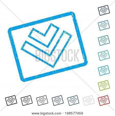 Direction Down rubber watermark in some color versions.. Vector icon symbol inside rounded rectangle with grunge design and dust texture. Stamp seal illustration, unclean emblem.